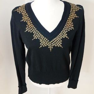 Nygard Collection Embellished Black Crop Sweater